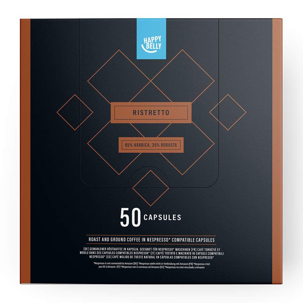 Amazon-Marke: Happy Belly Ristretto Gemahlener UTZ Röstkaffee in Kapseln (kompostierbar), geeignet für Nespresso-Maschinen, 50 Kapseln
