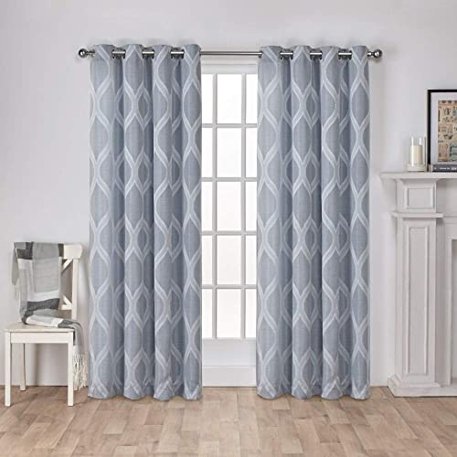 Exclusive Home Curtains Montrose Ogee Geometric Textured Linen Window Curtain Panel Pair with Grommet Top, 54×96, Steel Blue, 2 Piece