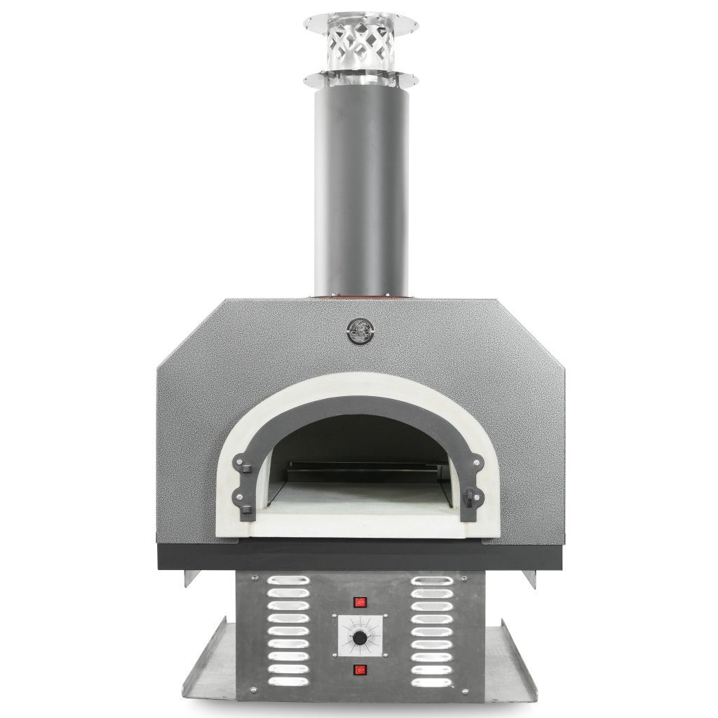 Chicago Brick Oven Natural Gas & Wood-Burning Residential Outdoor Pizza Oven, CBO-750 Hybrid Countertop with Silver Vein Hood