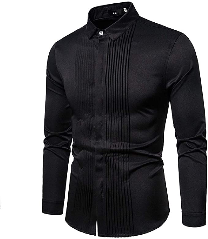 Comaba Men Shirt Button Long Sleeve Business Trim-Fit Solid Color Work Shirt