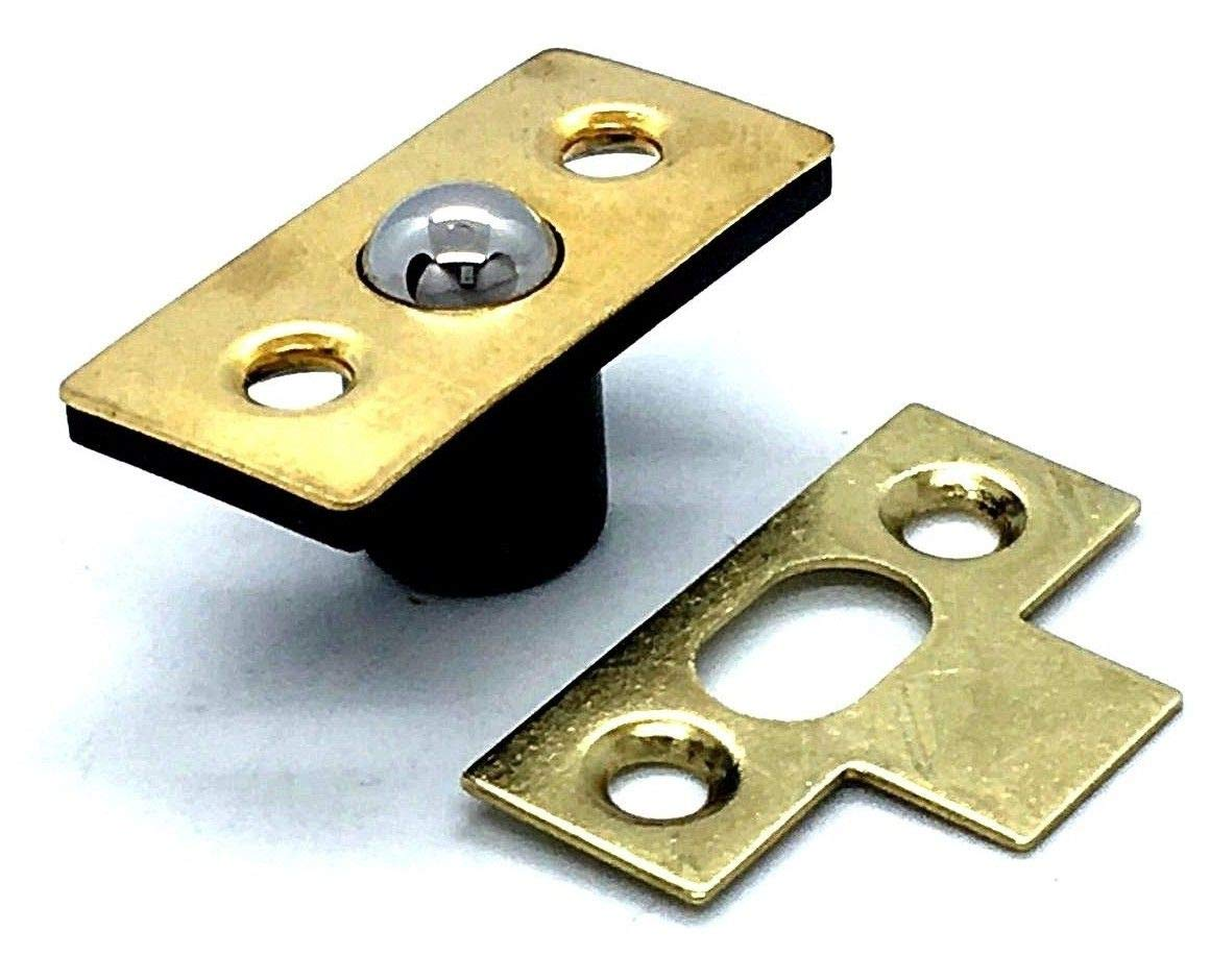 Roller Ball Catch 35mm Brass Plated mortice Door Latch & Strike Plate The Book Service Ltd