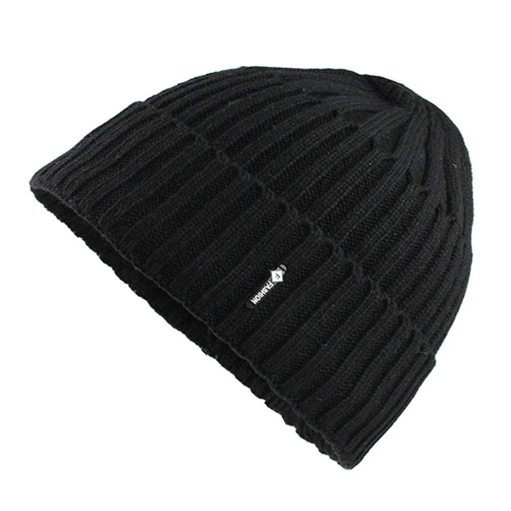a960ec3e7fa38 Amazon.com  Yezijin Winter Mens Hat + Scarf Set 2 Piece Warm Knit Cap and Scarf  Outdoor - One Size Fits for All (Black)  Clothing