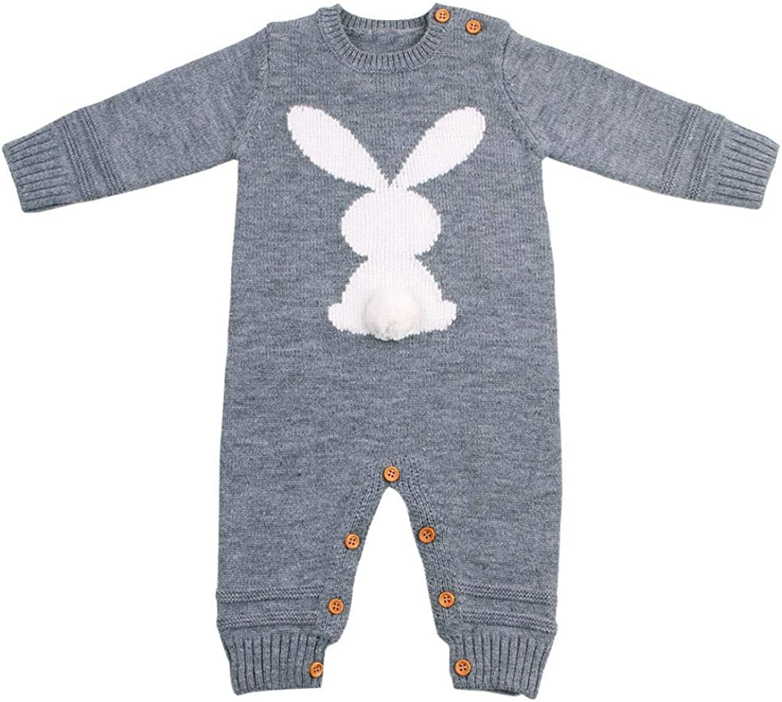 uBabamama Infant Baby Boy Girl Long Sleeve Rabbit Printed Weave Romper Knitted Jumpsuit for 0-24 Months