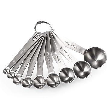U-Taste Cucharas Medidoras Juego 9 Piezas Herramientas de Cocina Cucharas 18/8 Acero Inoxidable Utensilios de Cocina Juego de Cucharillas Para Cocina ...