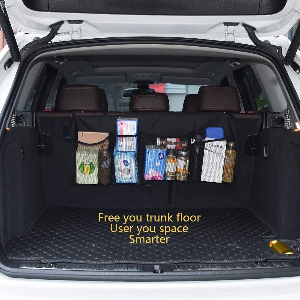 Trunk Organizer for Car SUV Truck Organizer Multipurpose Car Organizer Auto Cargo Storage with Straps Multi Compartments Trunk Organizer Auto Trunk Storage Organizer Black Car Trunk Organizer