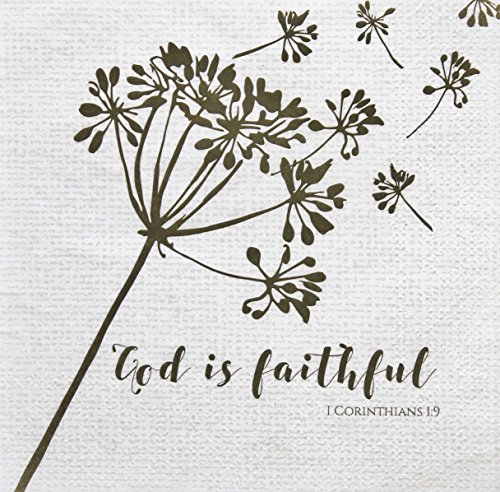 Pearls of Parchment Scripture Paper Napkins, 20 Count, 3-ply, God is Faithful Bible Verse, Fall Burlap with Dandelion Design