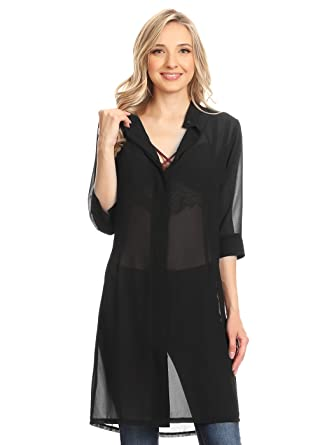 719837ffa3a Anna-Kaci Junior Womens Black Sheer Chiffon Long Tunic Blouse Dress Shirt:  Amazon.co.uk: Clothing
