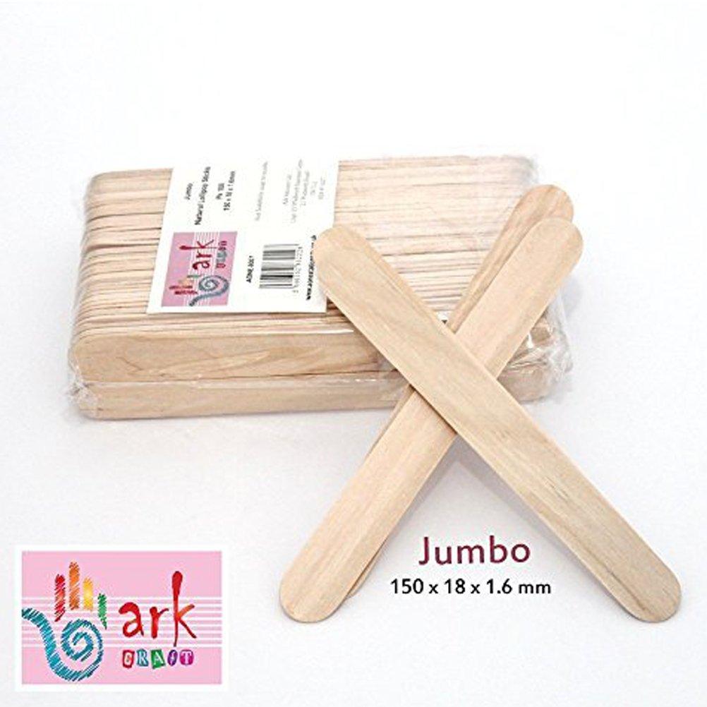 2 x 100 Jumbo Natural Wooden Lollipop Sticks by arkCRAFT