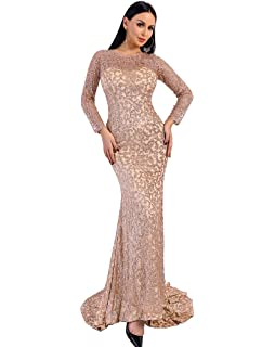 5c753f0f5b8b Miss ord Women Sexy High Neck Long Sleeve Split Glitter Dresses ...