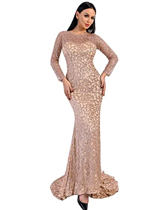 Miss ord Women O Neck Long Sleeve Pattern Glitter Maxi Party Dress (XSmall, Gold1