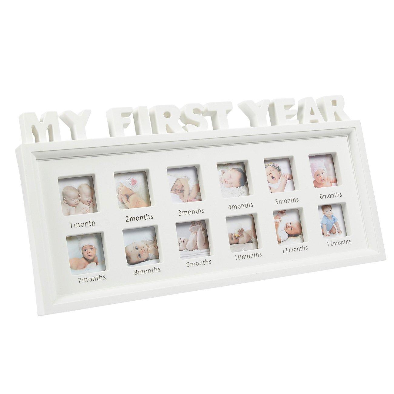 Mi primer año bebé marco de fotos – 12 meses marco de fotos, Capacidad para 12 fotos, uno para cada mes, 16,2 x 8 x 1 cm, color blanco