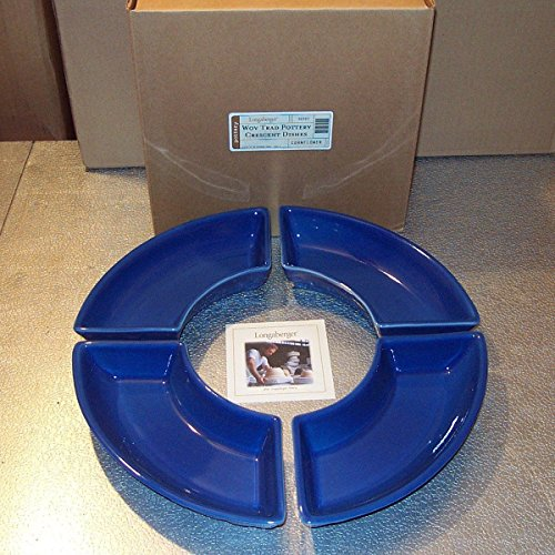 Longaberger Pottery Dishes Crescent Cornflower Blue Made In USA New In Box Set of -