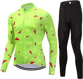 Tuta da Ciclismo Camicia a Maniche Lunghe E Pantaloni Strappy Felpa Sport e Ciclismo Maglia Manica Lunga da Uomo puerhki