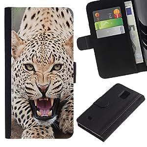 All Phone Most Case / Oferta Especial Cáscara Funda de cuero Monedero Cubierta de proteccion Caso / Wallet Case for Samsung Galaxy Note 4 IV // Leopard Angry Roar Spots Furry Animal