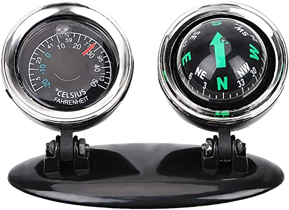1 PC Universal Automobile Dashboard Compass Thermometer Car Decoration Accessory