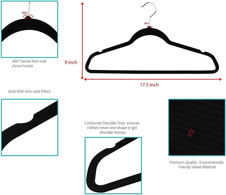 Coat Hangers Utopia Home Premium Non-Slip Velvet Hangers Bulk Pack of 150, Black Heavy Duty Pant Hangers