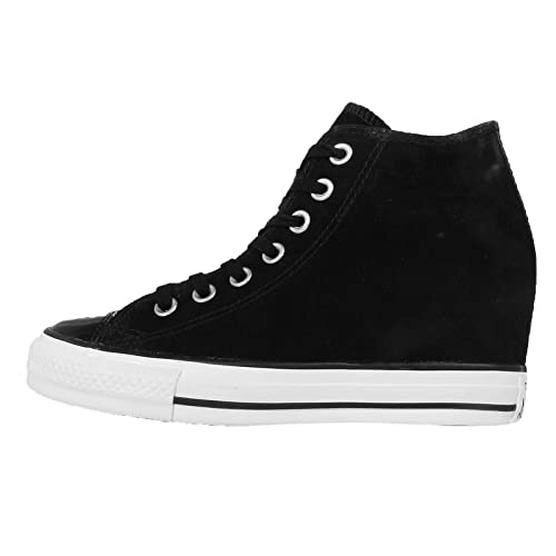 Converse All Star Leather Hi Unisex Scarpe Da Ginnastica in Pelle Nera Nero 6 UK