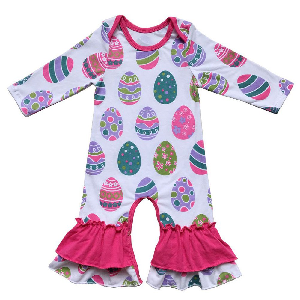 191f99d422 Amazon.com  Baby Girls Easter Romper Toddler Little Bunny Eggs Ruffle  Jumpsuit Pants Long Sleeve Pajamas Birthday Outfit Age 0-3T  Clothing