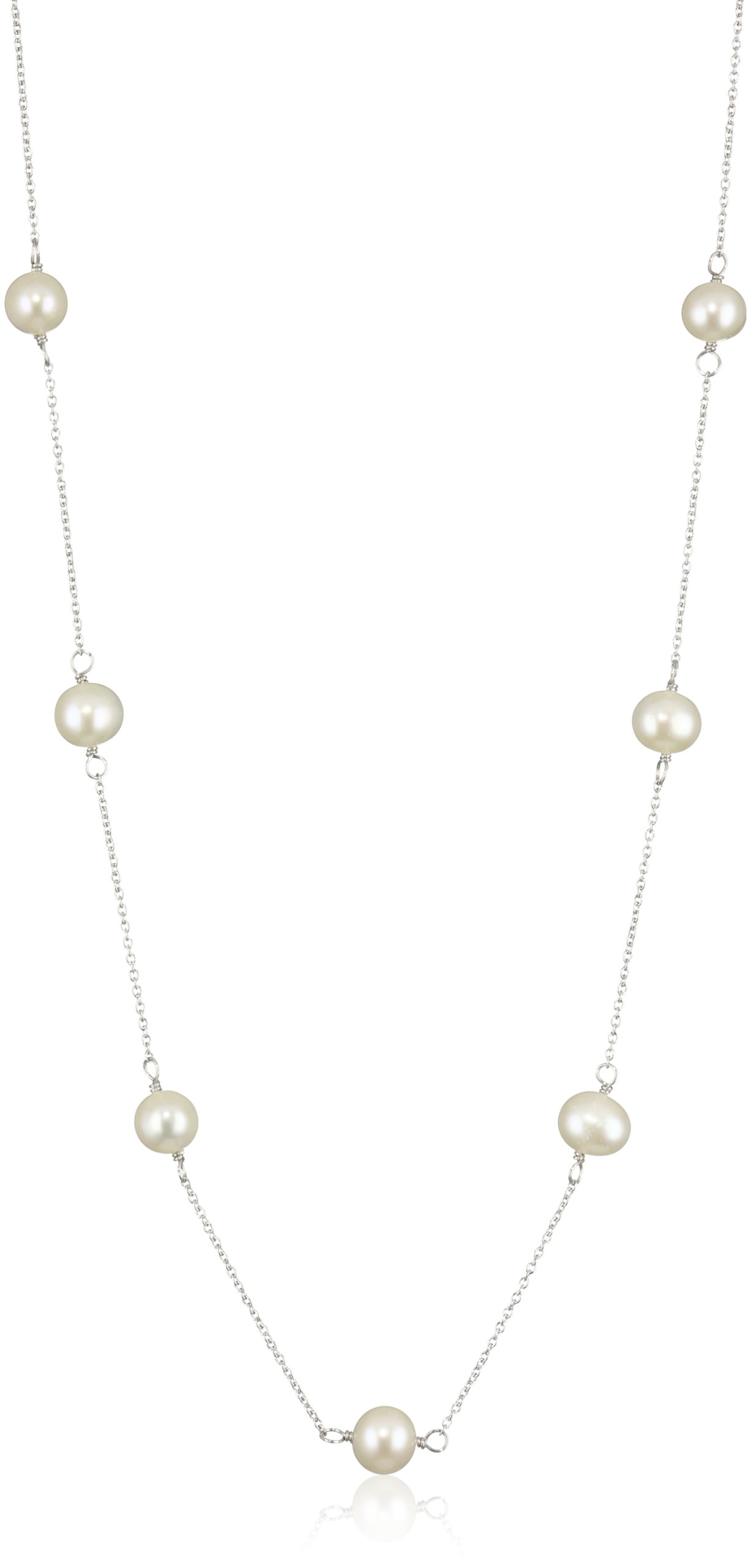 Bella Pearl White Sterling Silver Tin Cup Necklace, 18-Inch