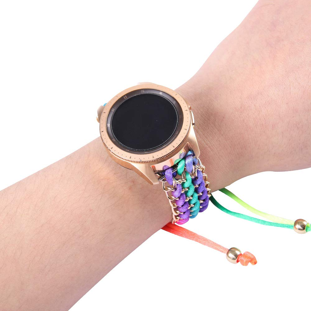 Juzzhou 22mm Watch Band For Samsung Gear S3 46 And Other Smart Watch hand Knitting Yarn Caddice Replacement Wriststrap Watchband Bracelet Breathable Wrist Strap Wristband Women Girl Lady Boy Corlorful by Juzzhou