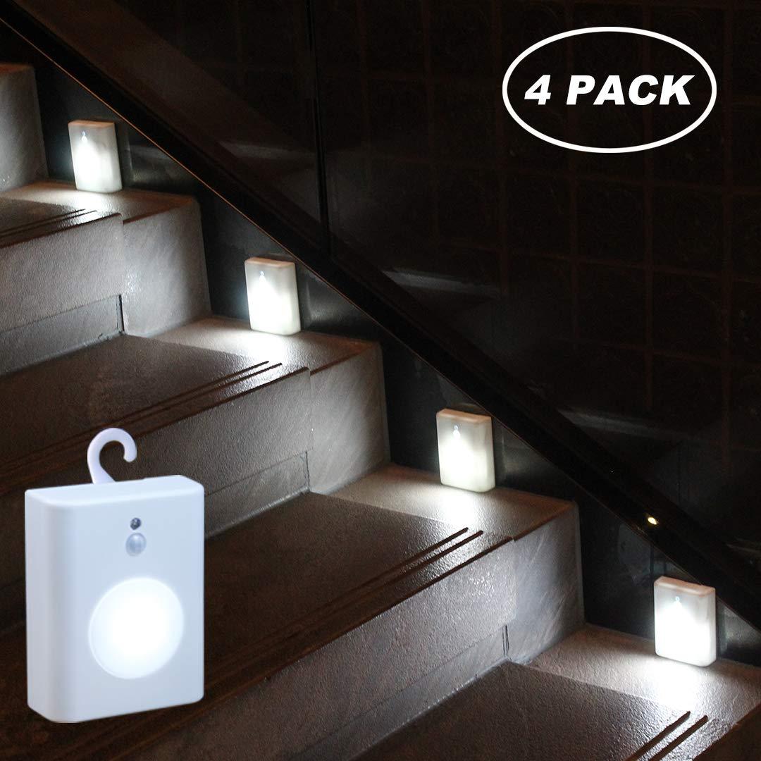 WRalwaysLX 2018 Latest Motion Sensor LED Stair Light Stick-Anywhere Nightlight for Stairway,Hallway,Closet,Bathroom(Cool White 4PC)