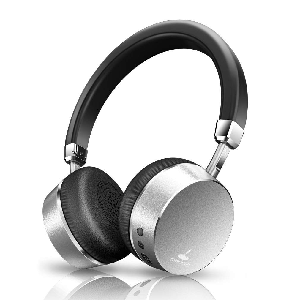 Noise Cancelling Headphones, Meidong E6 Metal Bluetooth Headphones with Microphone Wireless Stereo Headphones On-Ear, Ergonomic Design for Travel Work TV Computer