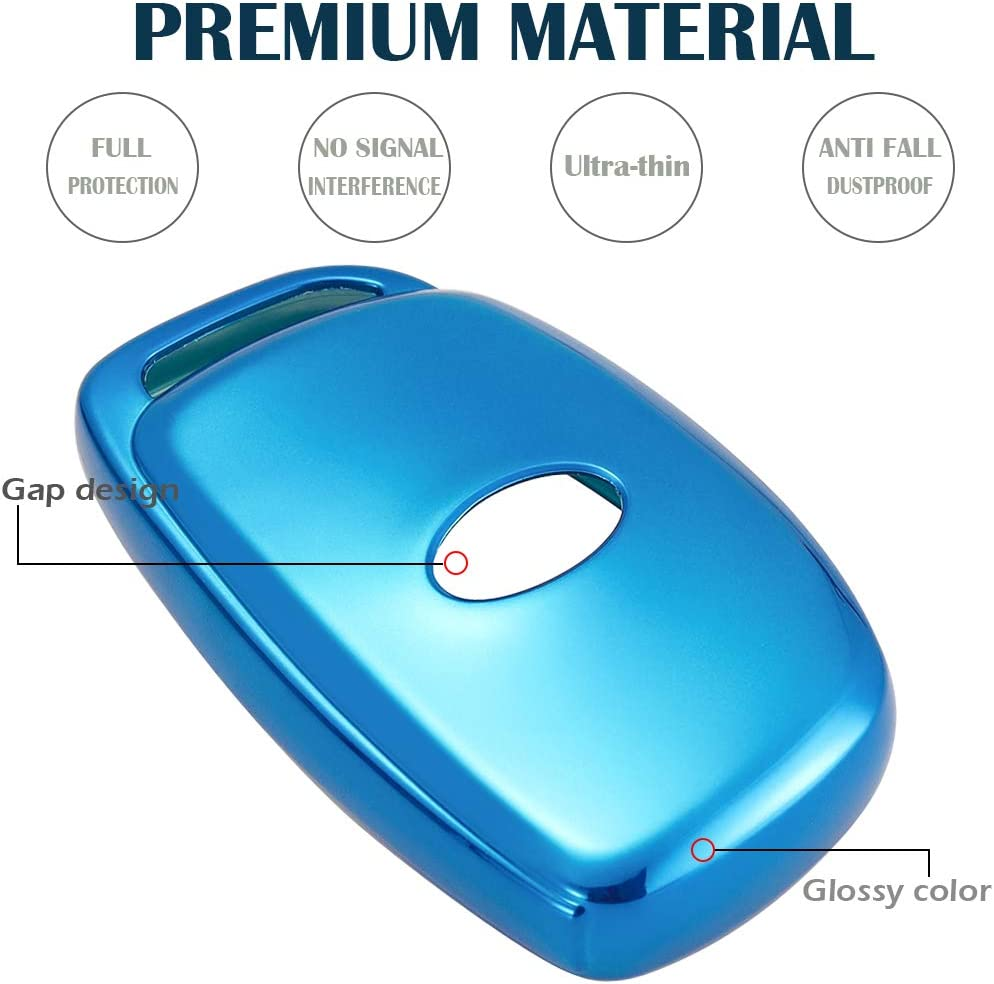 Lcyam for Hyundai Key Fob Cover Remote Case Protector Black Glossy TPU Compatible with 2015 2016 2017 2018 2019 2020 Hyundai Elantra Sonata Tucson I40 IX35 I45 4 Button Smart Entry Car Key