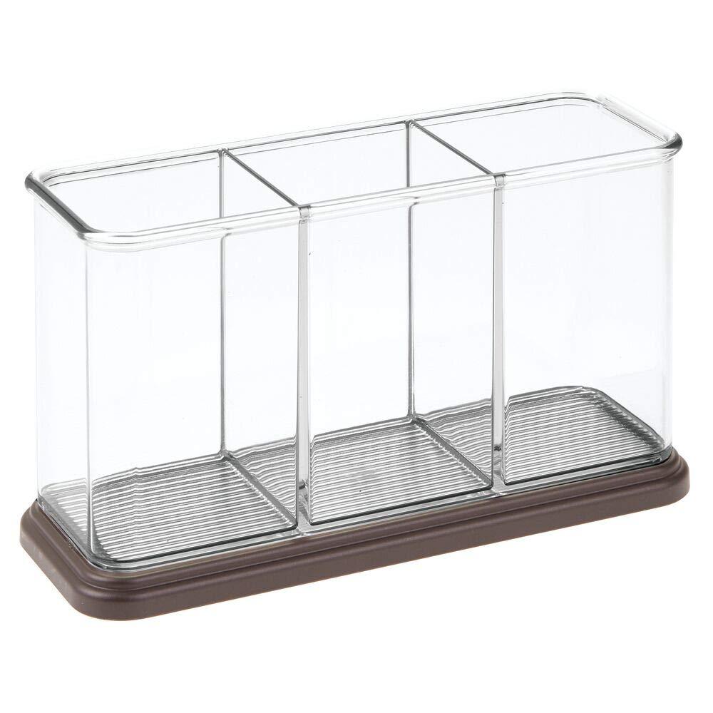 Vers/átil cubertero con Tres Compartimentos Portacubiertos para Cocina o Mesa de Comedor Transparente y Bronce mDesign Organizador de Cubiertos de pl/ástico