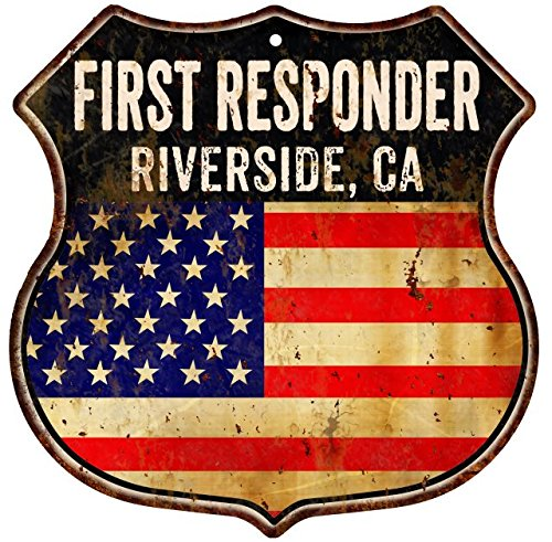 Riverside Metal (RIVERSIDE, CA First Responder American Flag 12x12 Metal Shield Sign S122335)