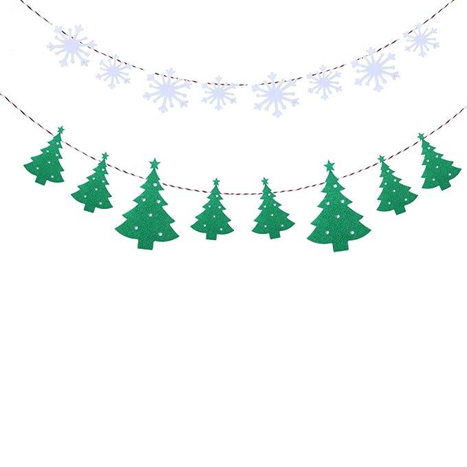Tinksky Copo de nieve y tela de árbol de Navidad Partido Bunting ...
