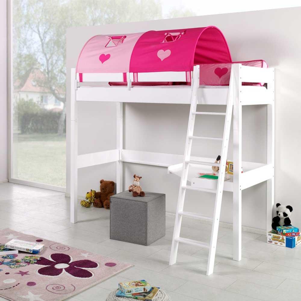 Pharao24 Hohes Spielbett in Weiß Buche massiv Pink Rosa
