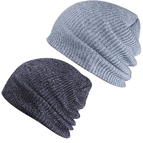 - Paladoo Slouchy Winter Hats Knitted Beanie Caps Soft Warm Ski Hat (Dark Grey+Light Grey)