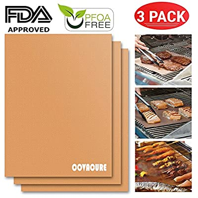 COVACURE BBQ Grill Mat - 100% Non-stick BBQ Grill & Baking Mats, Set of 3 Barbecue Mat, FDA Approved, PFOA Free, Reusable and Easy to Clean, Size 15.75 x 13 inches from COVACURE