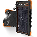 Solar Charger 15000mAh,Teryei Portable Solar Power Bank High Efficiency Solar Phone Charger with Solar Panel, Dual USB Cell Phone Battery Charger for iPhone,Samsung and Emergency Outdoor (# Cool)