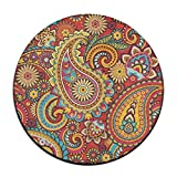 Floral Paisley Pattern Round Area Floor Mats Entrance Entry Way Front Door Mat Ground Rugs for Decor Decorative Men Women Office