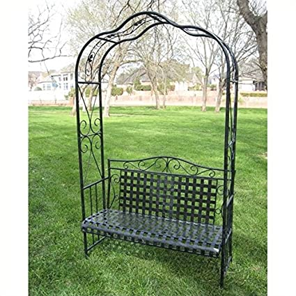 Swell Amazon Com Pemberly Row Iron Patio Arbor Bench In Antique Squirreltailoven Fun Painted Chair Ideas Images Squirreltailovenorg