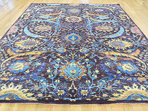 8'x10' Hand-Knotted Wool And Bamboo Silk Tabriz Sickle Leaf Design Rug G32286