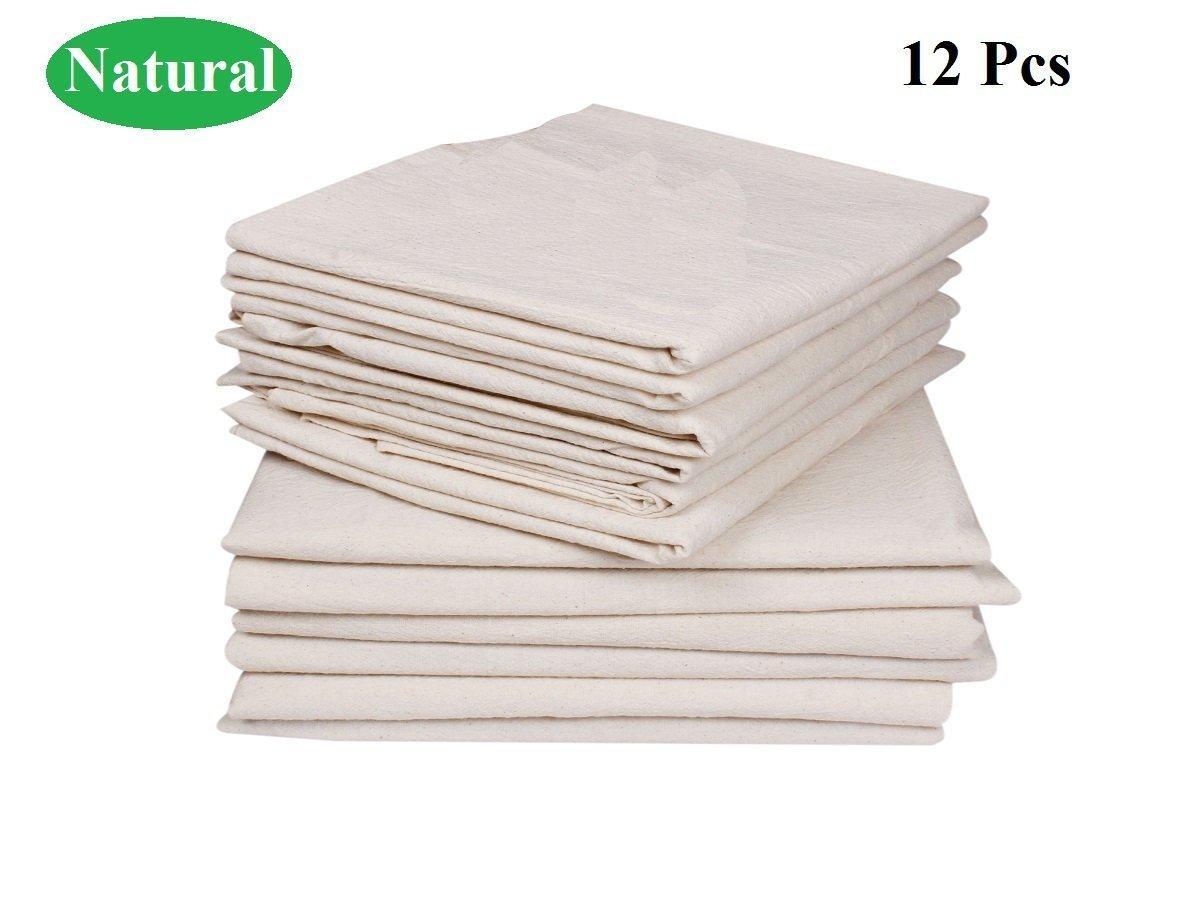 Einfach zu waschen und schnell trocknend Texmax Home Fashions Premium Baumwoll-Mehlsack Handt/ücher Natur Gepr/ägte Wirkung auf Handt/ücher f/ür hohe Wasseraufnahme 28 x 28 Natur