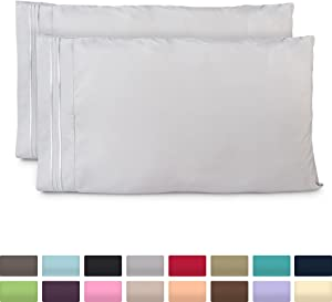 Cosy House Collection Pillowcases King Size - Silver Luxury Pillow Case Set of 2 - Premium Super Soft Hotel Quality Pillow Protector Cover - Cool & Wrinkle Free - Hypoallergenic