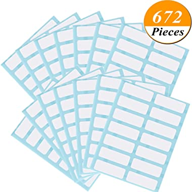 Kenkio 672 Pieces File Folder Labels Name Label Filing Envelopes Accessories Bottle Cup White Rectangle Label Price Stickers