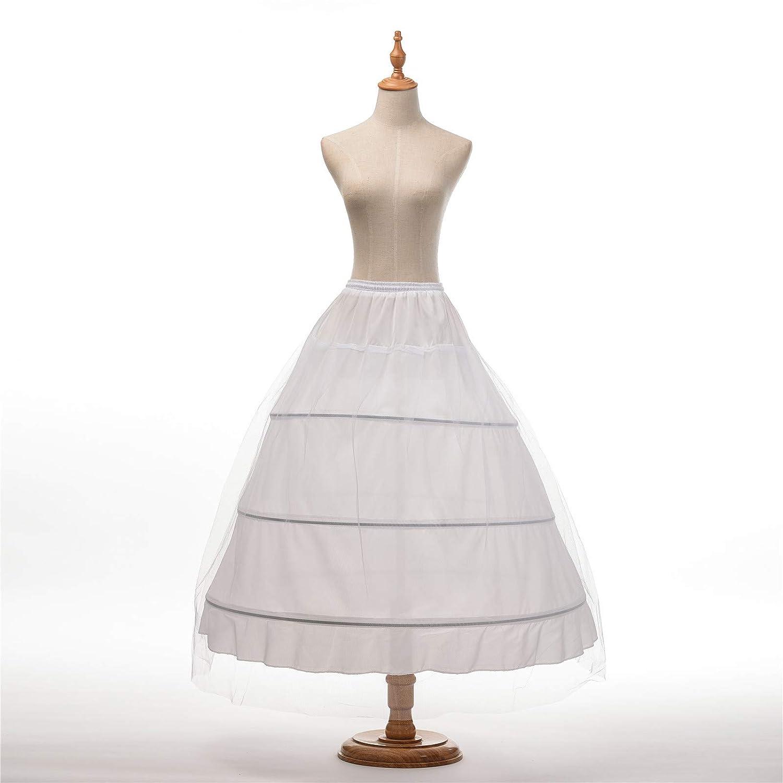 AWEI 3 Layers Wedding Ball Gown Petticoat Skirt 3 Hoops White Slip Crinoline Underskirt