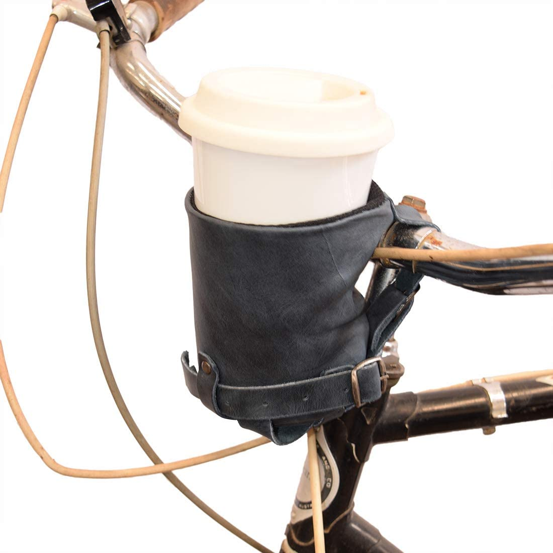 Hide & Drink, Cruzy Leather Bike Handlebar Cup Holder, Insulated Beverage Pouch for Commuters, Minimalist Bikers, Cyclers, City Nomads, Urban Nomad Handmade Includes 101 Year Warranty :: Slate Blue