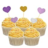 HZOnline Glitter Love Heart Cake Toppers,Birthday