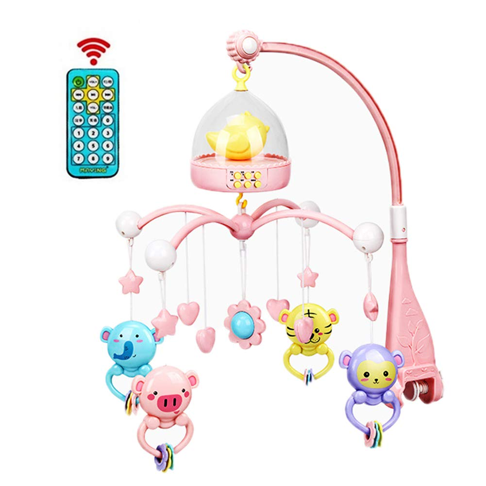 LamicAR 0-12 Months Baby Remote Control Rotating Musical Crib Mobile Bed Rattle Bell Toy Pink