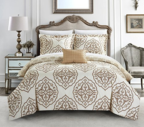 - Chic Home 4 Piece Murano Reversible two-tone medallion pattern print King Duvet Cover Set Beige