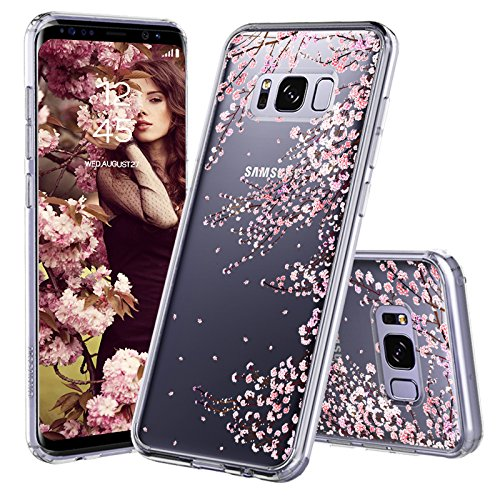 Galaxy S8 Case, Galaxy S8 Cover, MOSNOVO Cherry Blossom Floral Printed Flower Clear Design Plastic Hard Slim Back Case with TPU Bumper Protective Case Cover for Samsung Galaxy S8 ()