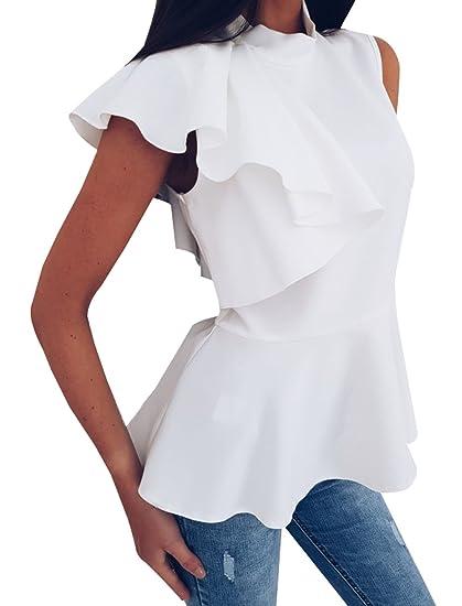 Freestyle Mujer Tops Verano Camisetas Moda Sin Mangas Blusa Chic Irregular Lado de la Hoja de