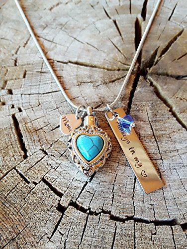 Custom Hand Stamp Cremation Jewelry Turquoise Heart Urn Necklace Always In My Heart with Swarovski Birthstone - Turquoise Heart Locket