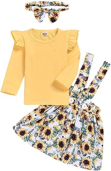 Baby Girls Dress Sets RuffleTops /& Suspender Skirt /& Bowknot Headband 3Pcs Overalls Sets
