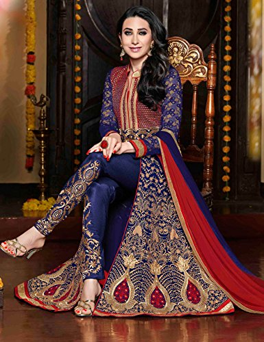 Blue Color Designer Partywear and Wedding Anarkali Suits with Churidar Salwar with ()